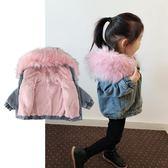 女童外套 2018新款洋氣牛仔外套加厚寶寶冬季加絨三歲兒童秋冬