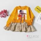 蝴蝶結絨布相片拼接條紋長版上衣 芥末黃 ...