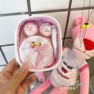 眼鏡盒粉紅豹可愛眼鏡盒卡通 美瞳伴侶盒化妝包3副裝 果果輕時尚