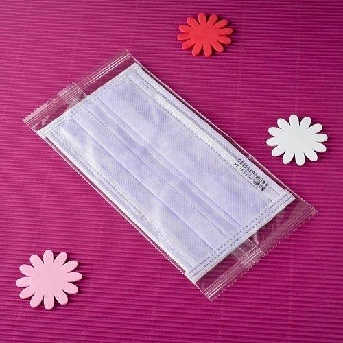 【雨晴牌-三層不織布口罩】(單片裝) (A級高效能) @成人-紫色@一盒50片 升級雙軌不易起霧 無異味