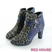 【RED HOUSE-蕾赫斯】豹紋馬毛真皮短靴