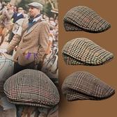 秋冬新中青年英倫男士大頭圍復古格紋鴨舌帽子優雅英式紳士貝雷帽 艾瑞斯