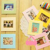 【BlueCat】彩色方框3吋七彩紙相框懸掛式照片牆含麻繩夾子