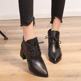 短靴 冬新款英倫高跟粗跟女靴子系帶短筒馬丁靴  萬客居