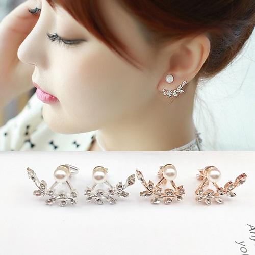 【NiNi Me】夾式耳環 氣質甜美水鑽樹葉珍珠夾式耳環 夾式耳環 E0088