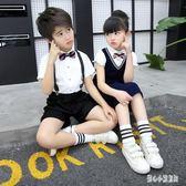 花童套裝男童 男童短袖西裝套裝夏季兒童演出服裝背帶褲英倫風 LJ2138【甜心小妮童裝】