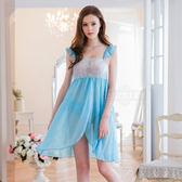 大尺碼睡衣 Annabery娃娃裝粉藍開襟二件式睡衣 緞面睡衣 【SV6854】快樂生活網