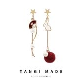 TANGI原創設計日韓925銀和風玉兔可愛百搭氣質長款耳環耳釘耳飾