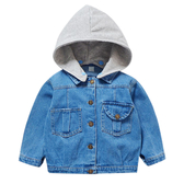 兒童牛仔外套連帽中小童短款百搭牛仔衣夾克-JoyBaby