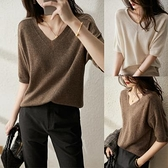 上衣 針織衫簡約百搭冰絲上衣針織短袖女士v領T恤打底衫T19依佳衣