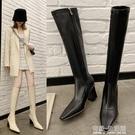 不膝上靴秋冬高跟彈力靴瘦瘦靴米白色長筒靴高筒中筒女靴騎士靴 雙十二全館免運