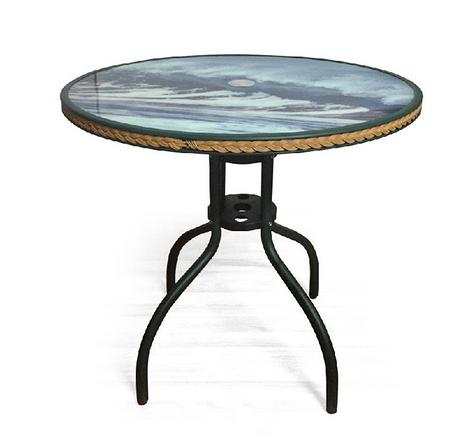 【 IS空間美學】編織休閒80圓桌(海浪圖案)