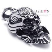《 QBOX 》FASHION 飾品【W10022073】精緻個性邪神骷髏頭鑄造316L鈦鋼墬子項鍊