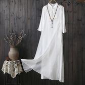 棉麻連身裙女寬鬆文藝立領飄逸茶服女