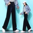 S-4XL金絲絨闊腿褲女墜感高腰寬松顯瘦直筒褲運動休閑長褲子GR241A快時尚