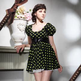東京衣服 奇幻愛麗絲 公主袖俏麗點點澎紗洋裝(不含封腰)  綠