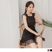 《DA7747》優雅透膚網紗拼接純色高腰修身洋裝 OrangeBear