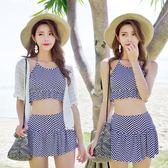 分體游泳衣女三件套甜美帶蕾絲罩衫小清新平角裙式遮肚沙灘比基尼  米蘭shoe