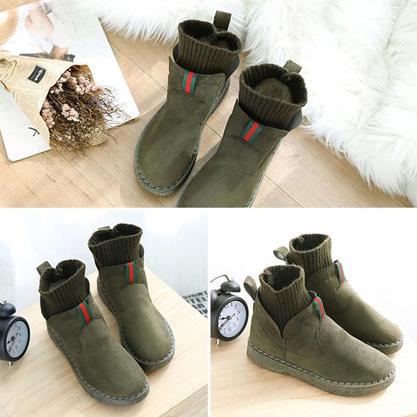 [現貨] 質感絨面毛線襪平底短靴 復古時尚加絨毛襪套短雪靴子 舒適軟底裸靴 黑粉綠灰【QZZZ7224】