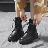 短靴女 高邦毛線口馬丁靴女年新款秋季機車鞋女潮鞋薄款街頭彈力短靴【免運直出】
