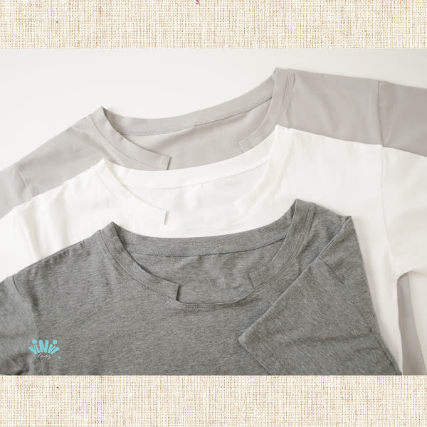 viNvi Lady 簡約變化領口柔軟純色短袖T恤 短袖上衣