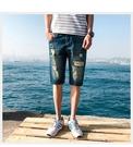 FINDSENSE H1 2018 夏季 藍色牛仔褲  水洗牛仔褲 短褲 男 五