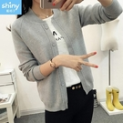 【V2647】shiny藍格子-氣質相隨.純色外搭短版開衫針織小外套