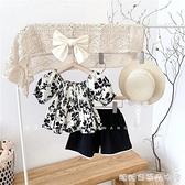女童夏裝套裝2021夏季新款超洋氣兒童時髦衣服寶寶碎花短袖兩件套 快速出貨