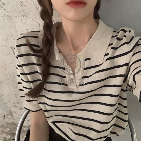 針織上衣 韓風chic薄款條紋針織衫女小個子polo衫春夏短袖短款上衣【小酒窩】