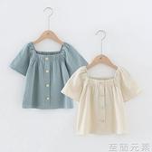 夏季童裝女童短袖t恤純棉麻方領公主時尚韓版百搭中大童上衣 至簡元素