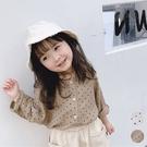 女童 透氣棉紗點點寬鬆薄長袖襯衫 可當薄...
