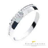 鑽石戒指 拼接款0.13克拉 線戒 亞帝芬奇 皇冠之愛