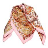 HERMES 花朵樹圖騰真絲方型披肩圍巾(粉色)179131