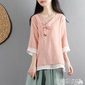 中國風復古文藝棉麻上衣女夏短款雙層紗寬鬆中袖襯衫中式禪意茶服 伊蒂斯