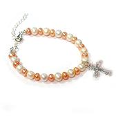 純銀耶穌十字架與天然珍珠白圓珠粉紅扁珠手鍊