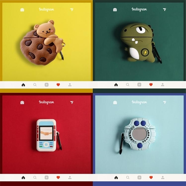 air保護套 創意可愛卡通男女潮硅膠殼蘋果藍牙耳機套AirPods1/2代無線保護套 果果生活館
