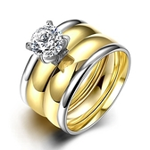 鈦鋼戒指 鑲鑽-時尚經典雙環套戒生日情人節禮物男飾品73le35[時尚巴黎]