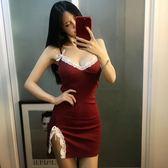 2018夜場女裝新款性感吊帶連衣裙秋緊身顯瘦包臀開叉夜店超短裙子