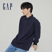 Gap男裝 簡約風碳素軟磨POLO衫 756433-海軍藍