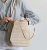 韓國百搭休閒草編織單肩水桶包ins旅遊沙灘手提女草編包 夢露