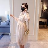 初心 蕾絲洋裝 【D2320】 夢幻 領口 蝴蝶結 精緻 洋裝 短袖洋裝 洋裝