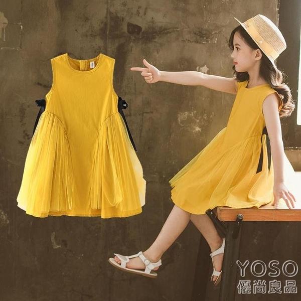 女童洋裝 童裝女童連衣裙夏季新品兒童公主裙中小童無袖洋氣時尚網紗裙 快速出貨