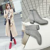 丁果、大尺碼女鞋34-43►韓版磨砂絨皮中跟踝靴子*4色(僅賣現貨)