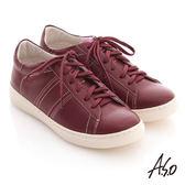 A.S.O 3D奈米系列 全真皮綁帶雙色拼接休閒鞋 紫