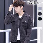 大尺碼工裝外套‧雙口袋小貼章單排釦潮流工裝外套‧三色‧加大尺碼【NTJBJ2830】-TAIJI-