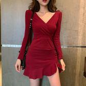 連身裙 時尚新款女裝氣質修身純色魚尾裙短裙性感V領包臀打底裙連衣裙潮
