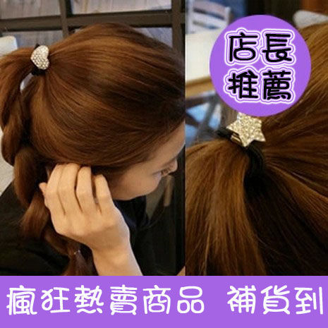 ►鑲鑽星星心形桃心閃鑽頭飾髮飾 鑲鑽愛心髮繩 頭繩【B5067】