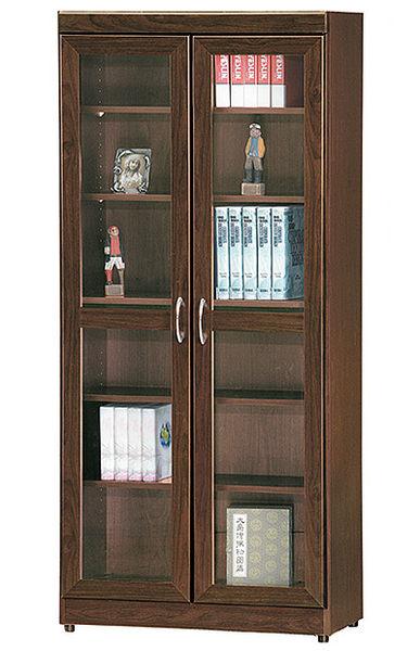 [ 家事達]台灣OA-579-5 胡桃色雙開門美背 玻璃書櫃 特價--已組裝限送台中市/苗栗/彰化/南投縣市