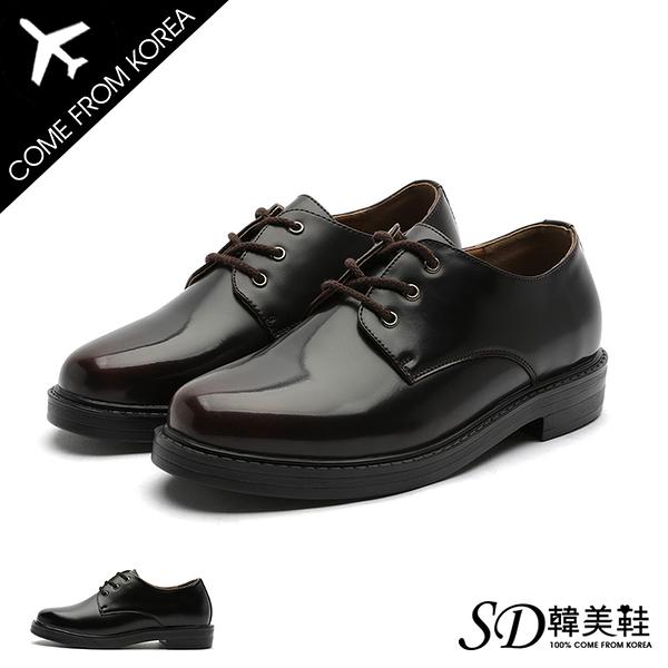 男鞋 韓國空運 簡單素雅亮面皮革 漸層刷色 紳士皮鞋德比鞋【F730449】SD韓美鞋