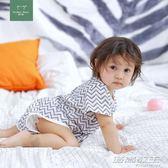 寶寶嬰兒連體衣新生兒紗布衣服短袖薄款純棉夏裝初生哈衣     時尚教主